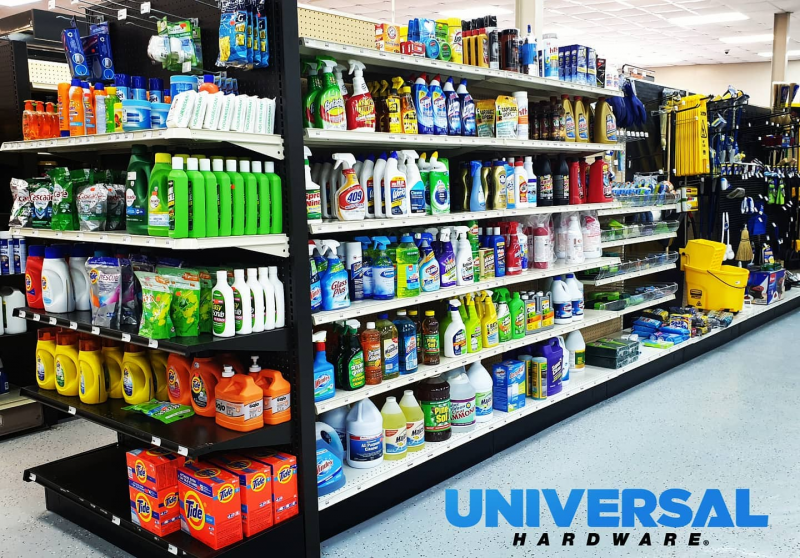 Cleaning supplies available at Universal Hardware