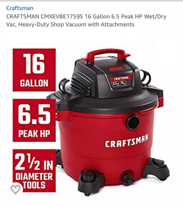 Craftsman ShopVac - Heavy Duty Wet / Dry vacuum - Brand new