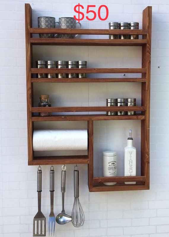 Assortment of mahogany shelving and space-saving items