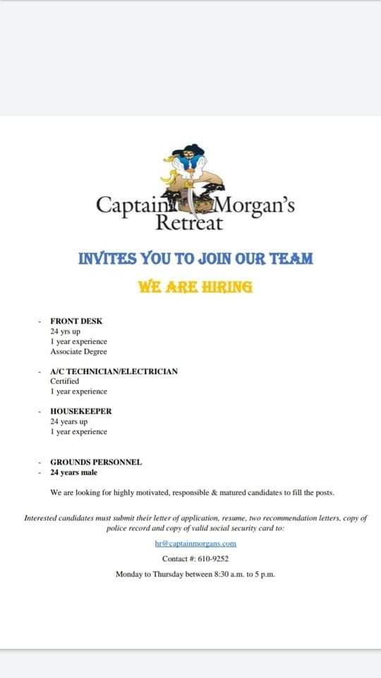 Captain Morgans Retreat now hiring in San Pedro