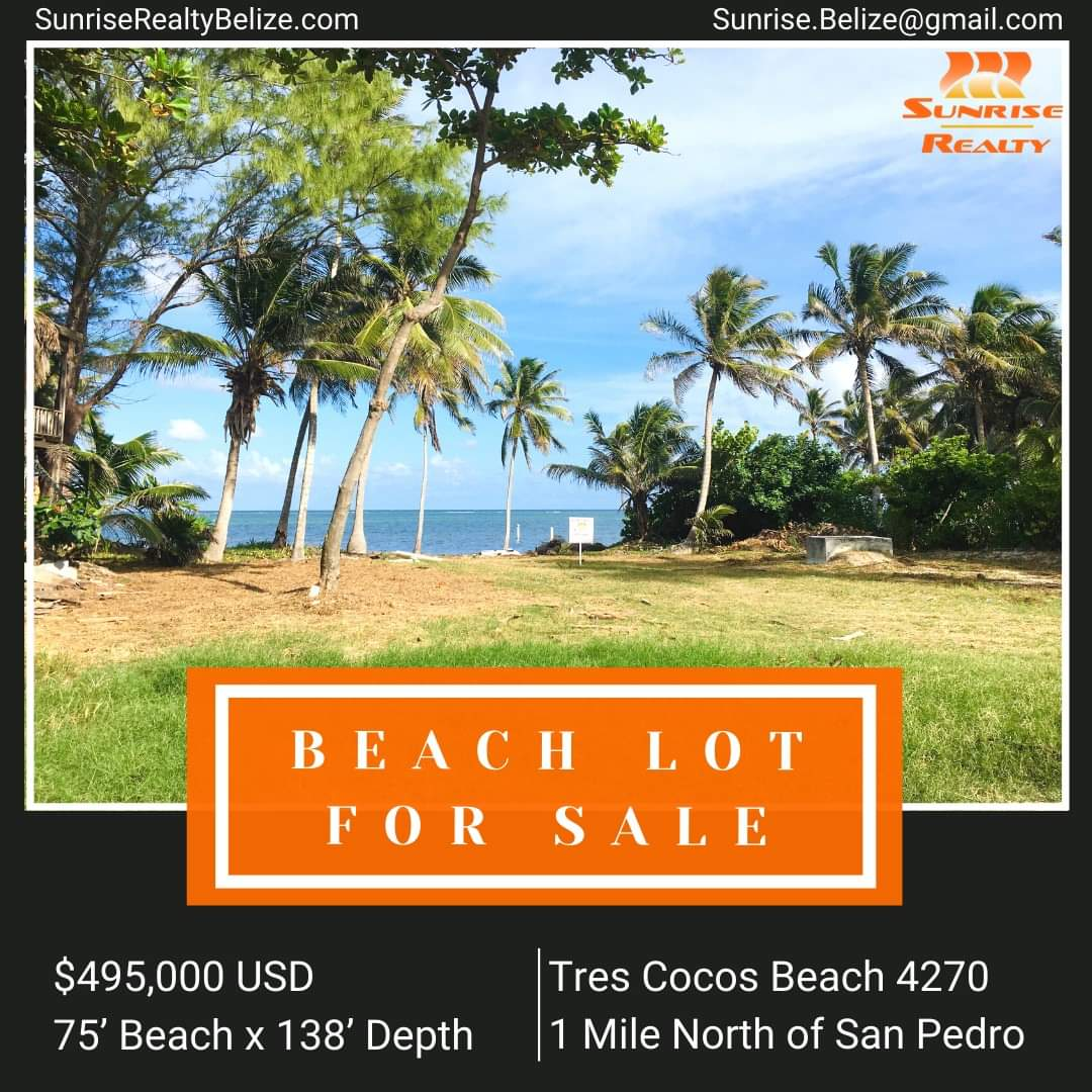 Beachfront lot for sale on Ambergris Caye