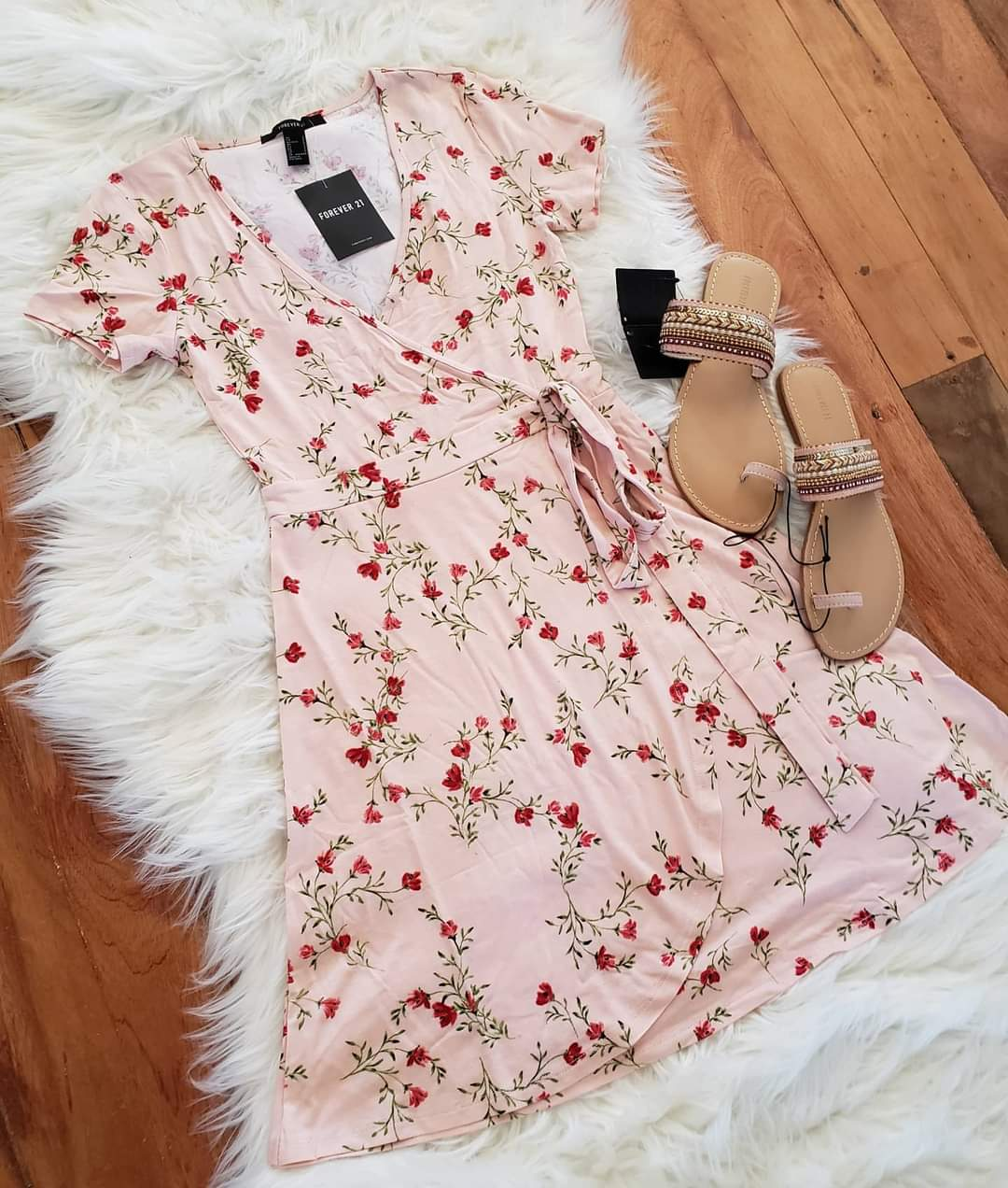 Forever 21 wrap dress and Boho sandals