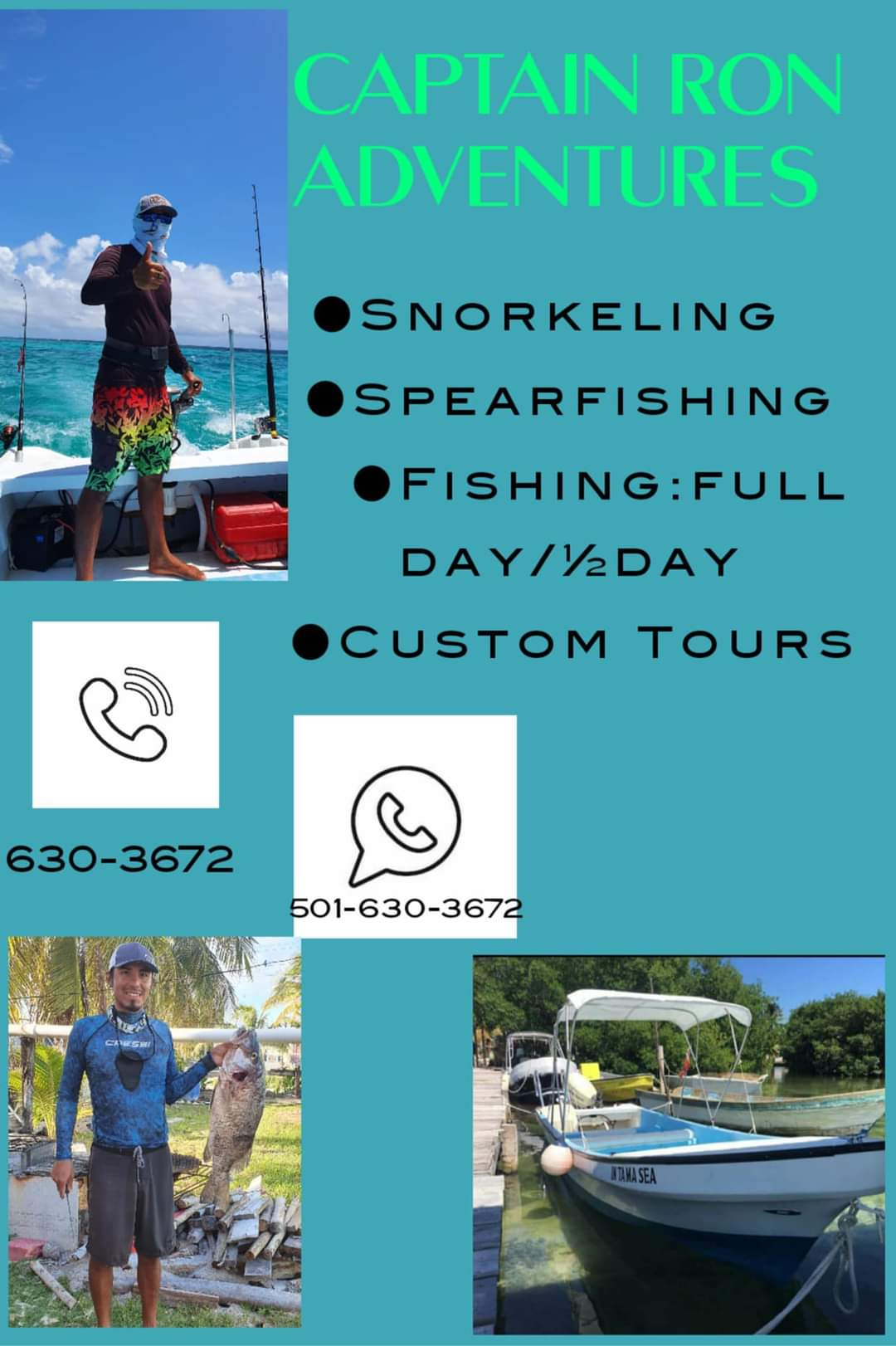 Fishing and snorkeling tours in Caye Caulker, Belize.