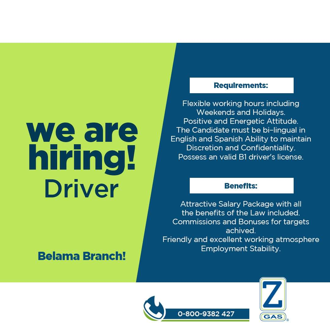 Job vacancy: Driver at Zeta Gas Belize
