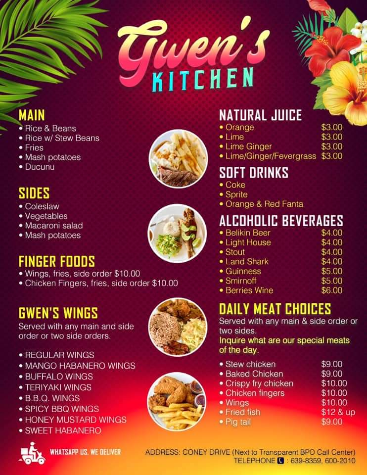Food menu at Gwen's Kitchen on Coney Drive