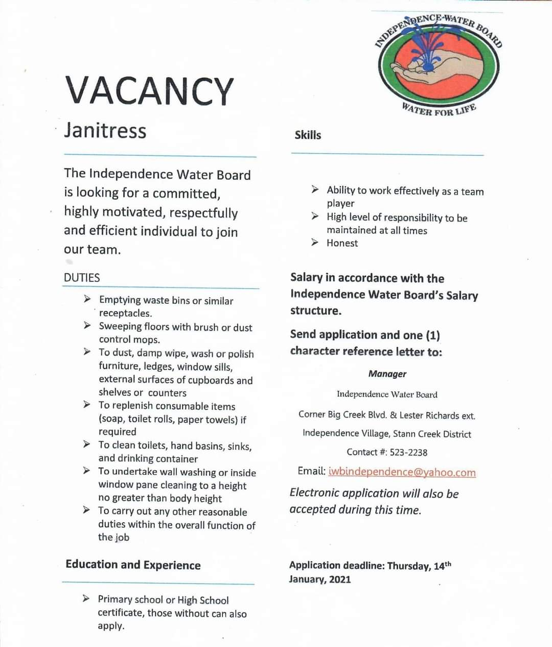 Hiring: Janitress in Independence, Belize