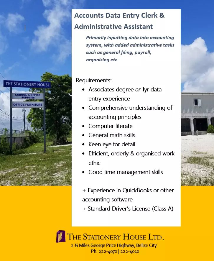 HIRING: Data Entry Clerk / Admin assistant job vacancy in Belize City