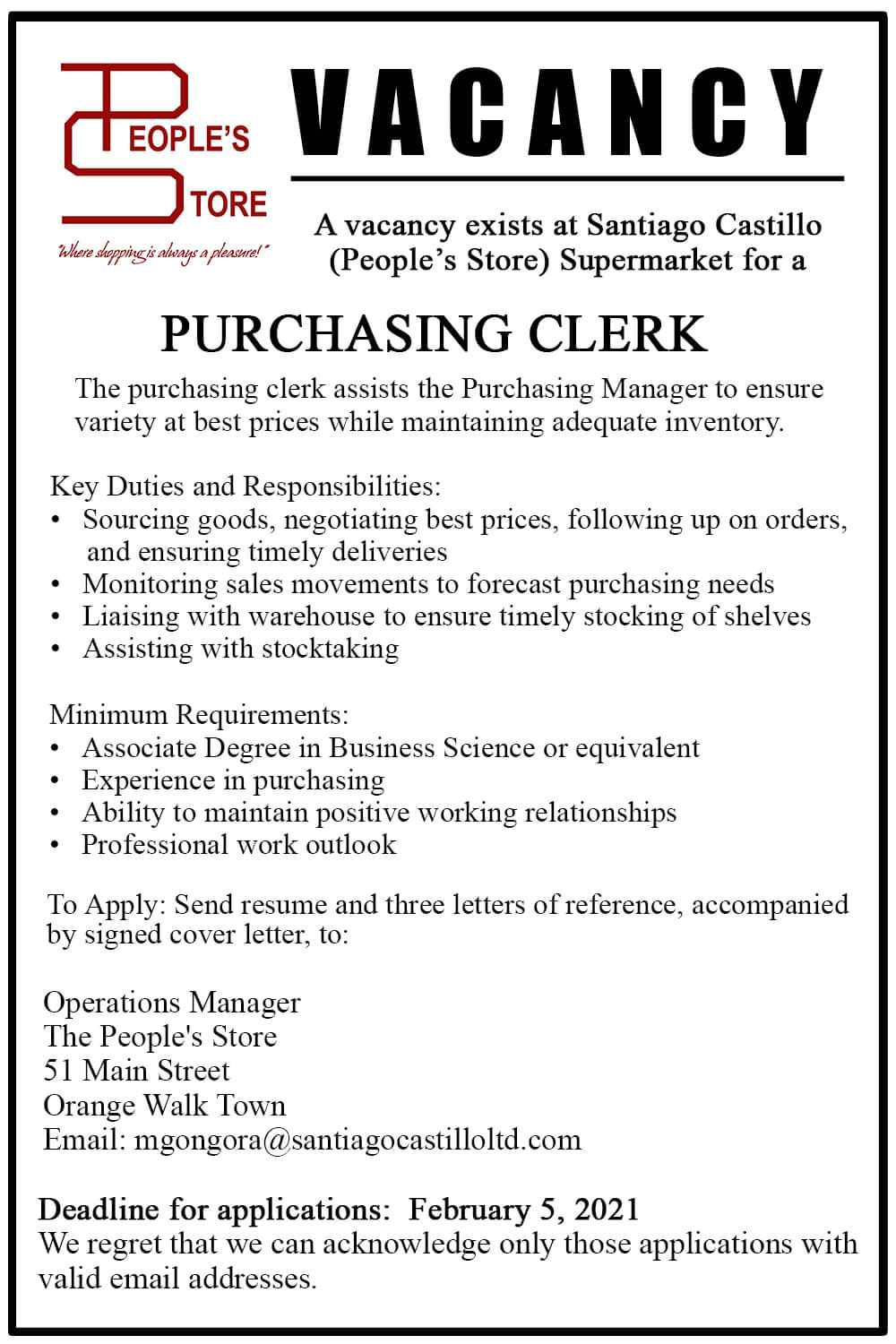 Job vacancy in Orange Walk: Purchasing Clerk at The People's Store