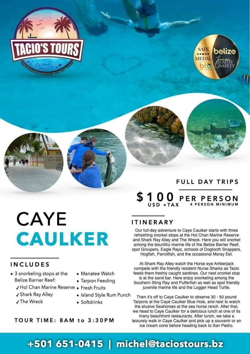 Guided tour of Caye Caulker with snorkeling and tarpon feeding