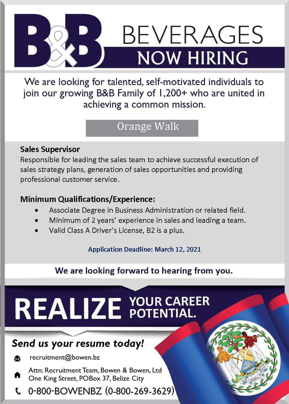 Now Hiring: Sales Supervisor- Orange Walk