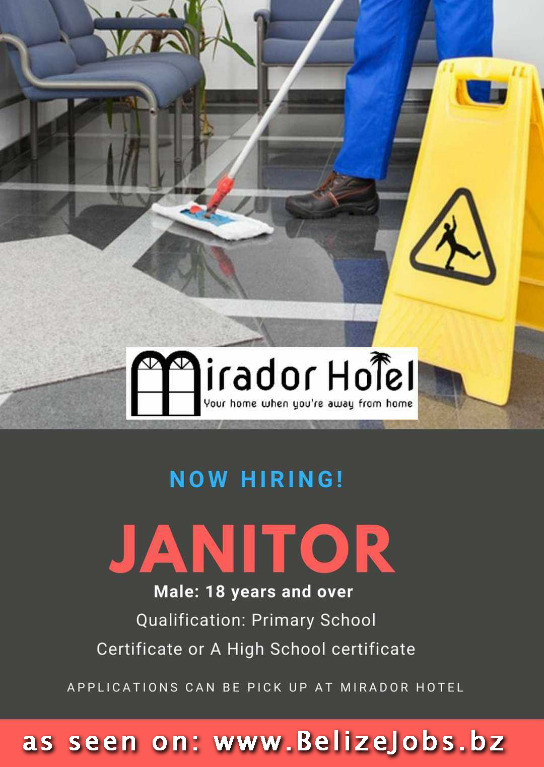 Job vacancy: Janitor in Corozal