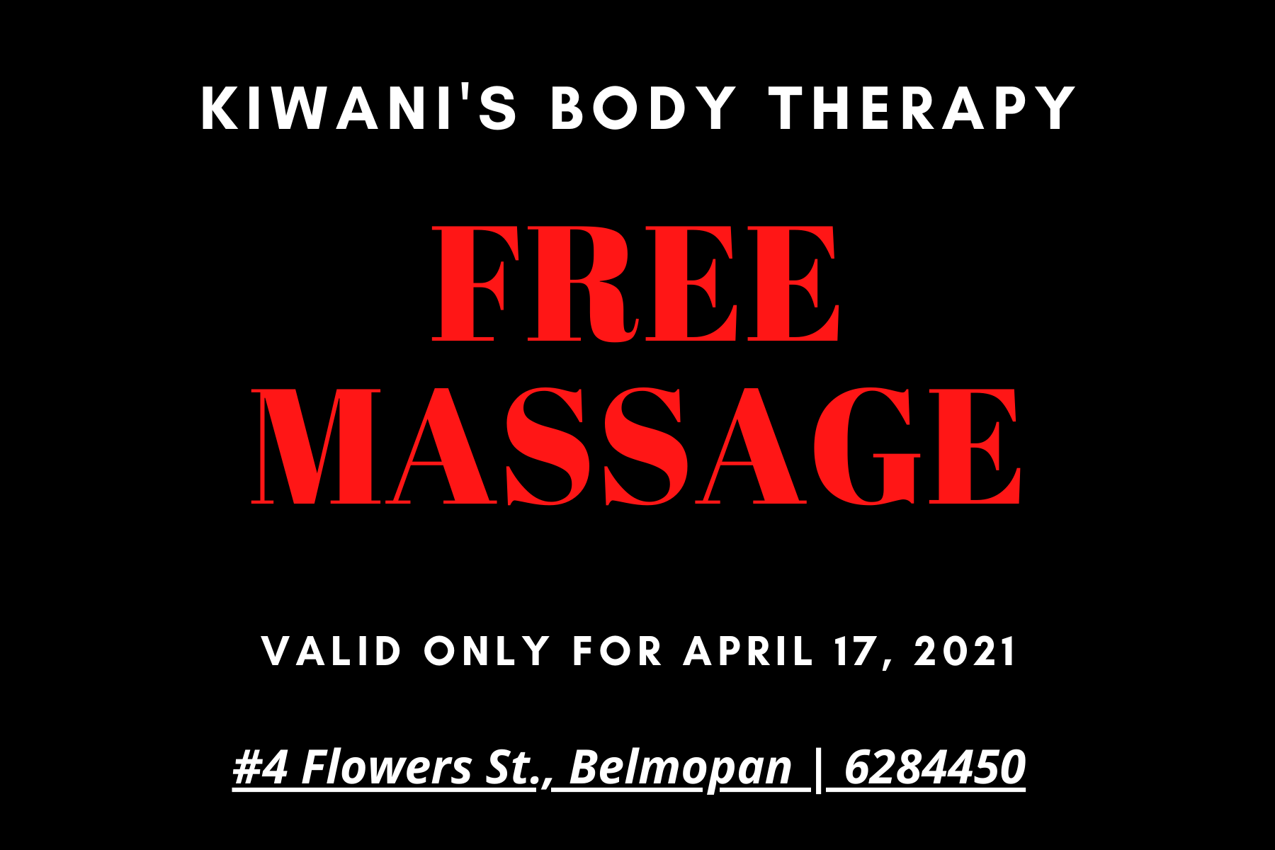 Free Holistic Massage Therapy in Belmopan